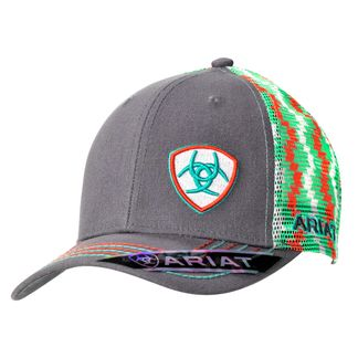 M&F WESTERN SBT CHEVRON CORAL, TURQUOISE & GREY SNAPBACK BALLCAP-1510806