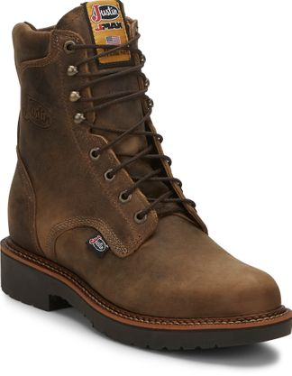 "JUSTIN RUGGED TAN GAUCHO MEN'S WORK 8"" LACE UP BOOT-440"