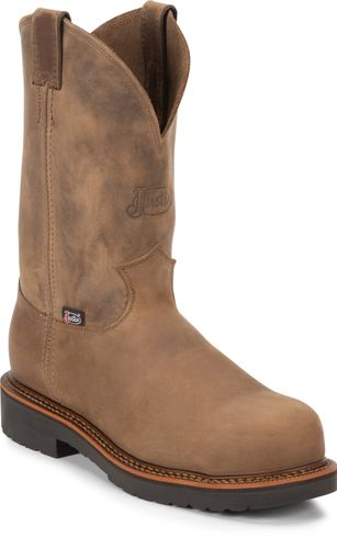 JUSTIN TAN CRAZYHORSE MEN'S WORK COMP TOE PULL ON BOOT-4491