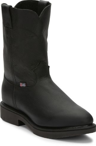 JUSTIN CONDUCTOR BLACK MEN'S WORK PULL ON BOOT-4763