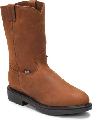 JUSTIN CONDUCTOR BROWN MEN'S WORK STEEL TOE PULL ON BOOT-4764