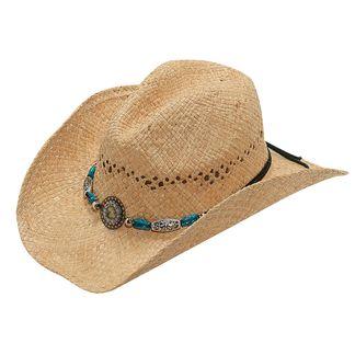 M&F RAFFIA HAT W/BEAD & CRYSTAL WESTERN HATS-71040