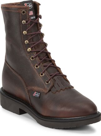 "JUSTIN BRIAR PITSTOP MEN'S WORK 8"" LACE UP BOOT-761"