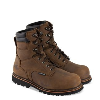 """THOROGOOD BROWN WP MEN'S WORK COMP TOE 8"""" LACE UP BOOT-804-3237"""