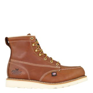 """THOROGOOD AMERICAN HERITAGE TOBACCO WEDGE MEN'S STEEL TOE 6"""" LACE UP BOOT-804-4200"""
