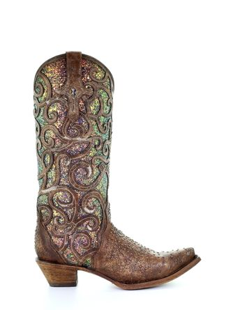 CORRAL RED BIRDS EMBROIDERY WOMEN'S WESTERN BOOT-C3467