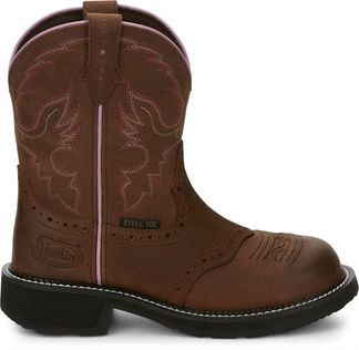 JUSTIN WANETTE AGED BARK WOMEN'S WORK STEEL TOE PULL ON BOOT-GY9980