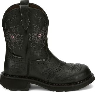 JUSTIN WANETTE BLACK WOMEN'S WORK STEEL TOE PULL ON BOOT-GY9982