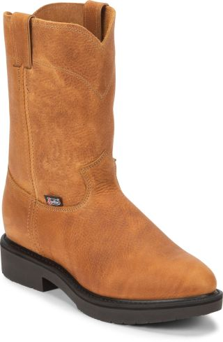 JUSTIN CONDUCTOR COPPER MEN'S WORK PULL ON BOOT-4762