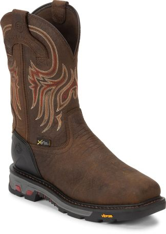 JUSTIN TUMBLED BRN WP MEN'S WORK STEEL TOE PULL ON BOOT-WK2112