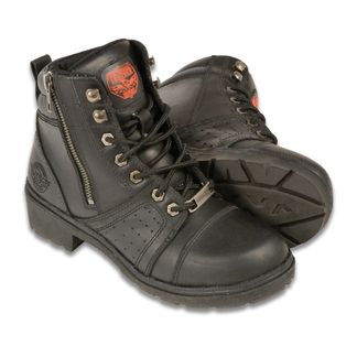 SHAF LACE-TO-TOE W/CONTRAST STITCHING WOMEN'S MOTORCYCLE LACE UP BOOT-MBL9300