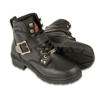 SHAF SIDE BUCKLE PLAIN TOE WOMEN'S MOTORCYCLE LACE UP BOOT-MBL9310