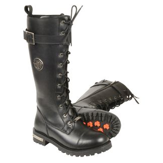 """SHAF 14"""" LACE-TO-TOE HIGH RISE WOMEN'S MOTORCYCLE SOFT TOE PULL ON BOOT-MBL9355"""