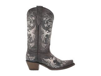 CORRAL BLACK BIRDS EMBROIDERY KID'S WESTERN BOOT-T0024