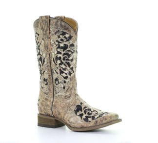 CORRAL GLITTER INLAY/EMBROIDERY SQ TOE KID'S WESTERN BOOT-T0042