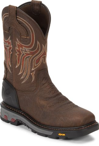 JUSTIN TUMBLED BRN WP MEN'S WORK STEEL TOE PULL ON BOOT-WK2111