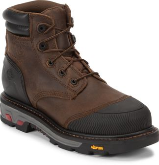 "JUSTIN MECHANIC TAN WP MEN'S WORK STEEL TOE 6"" BOOT-WK251"