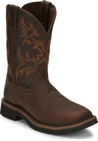 JUSTIN RUGGED TAN WP MEN'S WORK STEEL TOE PULL ON BOOT-SE4690