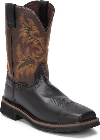 JUSTIN BLACK OILED MEN'S WORK COMP TOE PULL ON BOOT-SE4818