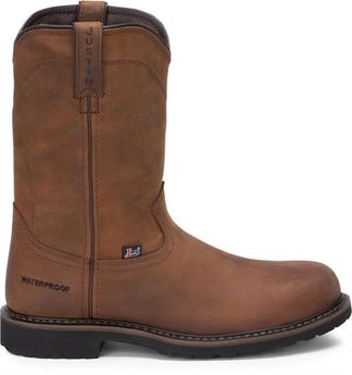 JUSTIN DRYWALL WP MEN'S WORK STEEL TOE PULL ON BOOT-WK4961