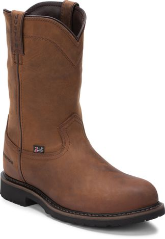 JUSTIN WYOMING WP MEN'S WORK STEEL TOE PULL ON BOOT-WK4961