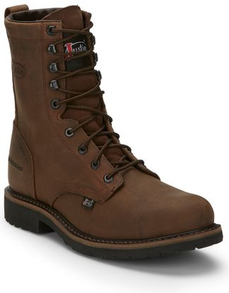 "JUSTIN WYOMING WP MEN'S WORK STEEL TOE 8"" LACE UP BOOT-WK961"