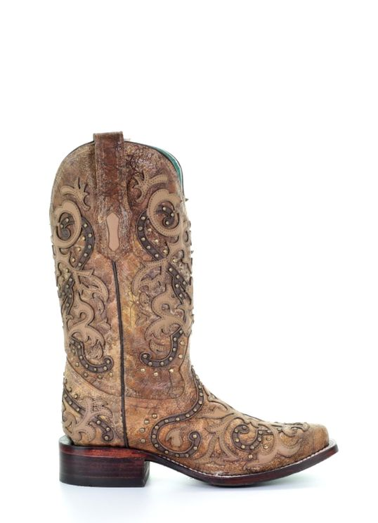 Corral Ladies Brown Overlay /& Studs Boots A3677